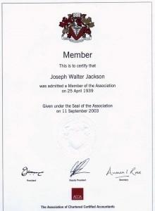 Jackson, JW accountancy certificate