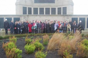 Dunedin Society members at the Royal Navy Memorial, Southsea