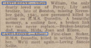 Castledine obit 1 Nottinghsm Evening Post 25-11-42