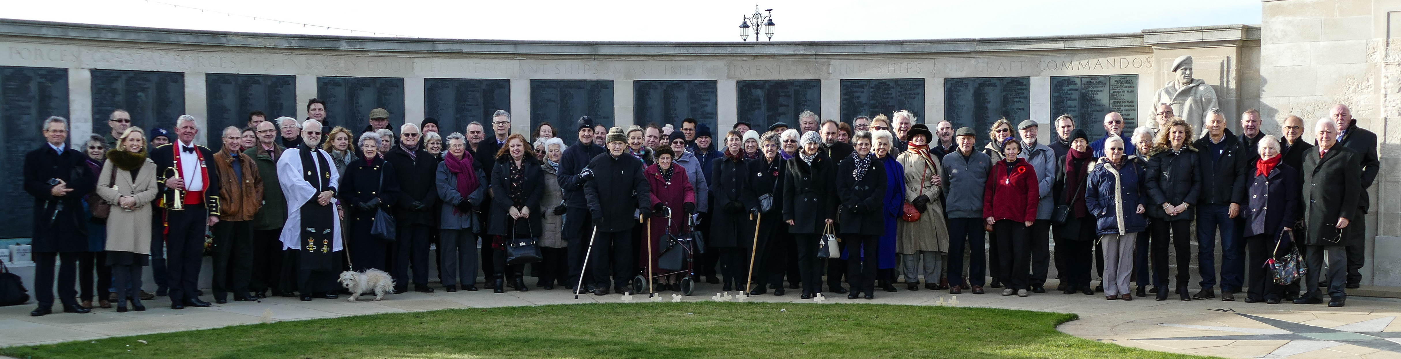 Dunedin Society members at the Royal Naval Memorial, Southsea Photo: Michael Gill