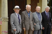 "Four of our five survivors, left to right:  Bertie Jeffreys, Bill Gill, Andrew ""Boy"" McCall, and Jim Davis."
