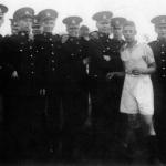 Marine group on football pitch