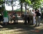 Members gather in the evening sun at the Fradley Arms on Saturday