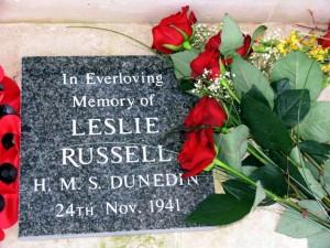 Leslie Russell memorial stone