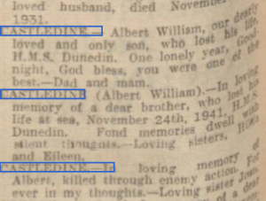 Castledine obit 2 Nottinghsm Evening Post 25-11-42